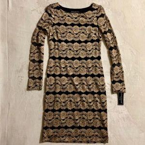 Jessica Howard Black & Gold Long Sleeve Dress